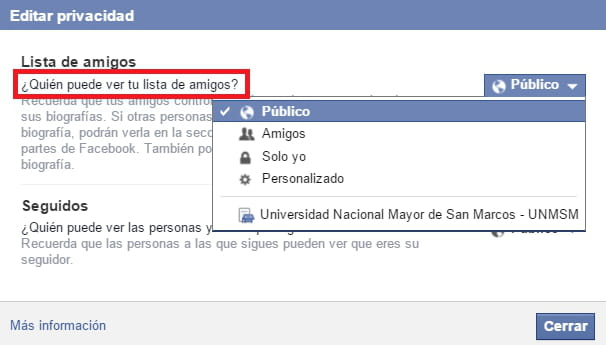 Facebook: Ocultar tu lista de amigos