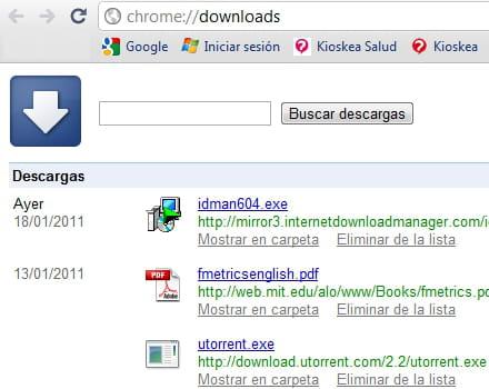 c mo ver el historial de descargas en google chrome