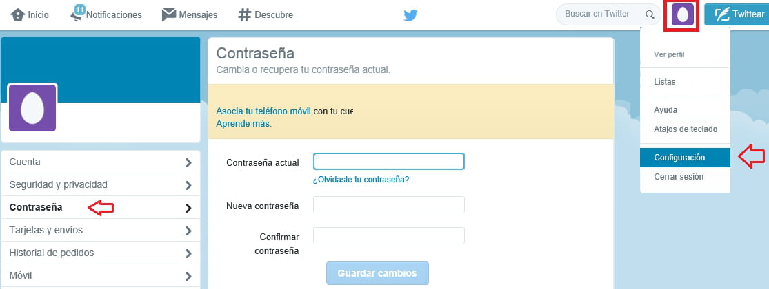 Cambiar tu contrase a de twitter for R s bains twitter