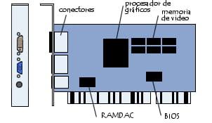 Diagrama de una tarjeta gráfica