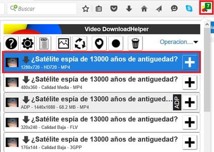 Entra a la página del vídeo que quieres descargar y reprodúcelo. Haz clic  en el icono de Video DownloadHelper y selecciona el formato y la calidad: