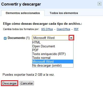 google docs descargar documento al disco duro en formato word