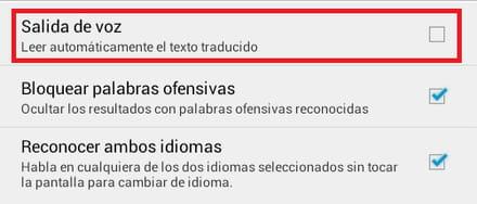 Traductor de google para android desactivar la funci n for Funcion de salida