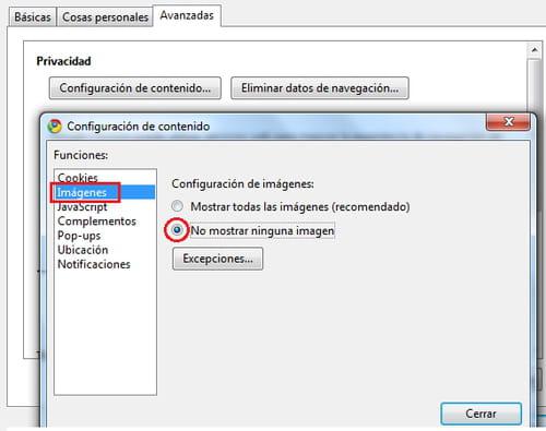 Cómo eliminar las imágenes de páginas web en Google Chrome