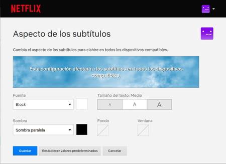 cambiar tamaño y color de subtítulos en Netflix