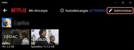 Netflix eliminar descargas