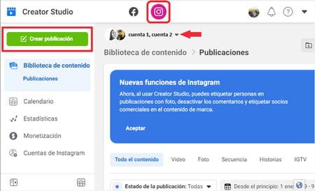 Subir fotos a Instagram desde Creator Studio