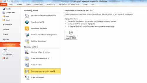 cómo empaquetar una presentación powerpoint 2010 para cd