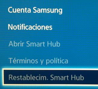 Samsung SmartTV: Restablecer 'Smart Hub' a sus valores