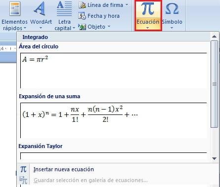 Word 2010 insertar ecuaciones matem ticas formulas for En word cual es el interlineado
