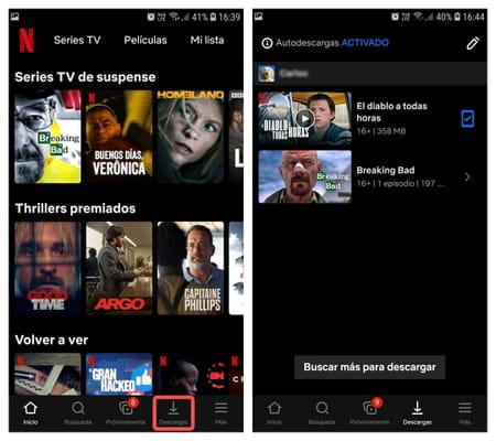 Netflix ver contenido descargado