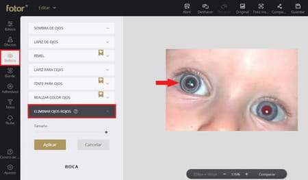 eliminar ojos rojos foto